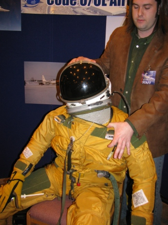 NASA's Josh Graham showed us the high-altitude flight suit that pilots wear, and we're planning a whole post about this topic.